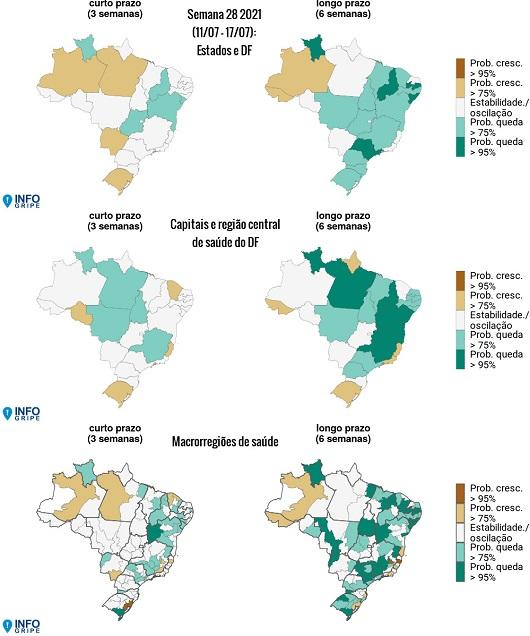 Mapa do Brasil mostrando as regiões mais e menos atingidas