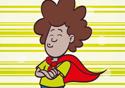 Desenho tipo cartoon mostra menino com uma capa vermelha