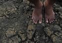 Um par de pés negros, descalços, pisa a terra seca e rachada, onde pousa o esqueleto de um peixe