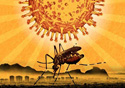 Desenho de um mosquito e da bactéria
