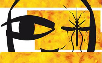 Desenho mostra mosquito sobre rosto, com tons de amarelo