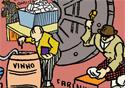 Desenho de trabalhadores produzindo vinho e farinha