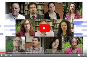 Montagem de imagens de diversos entrevistados em evento de mobilização para 15ª Conferência Nacional de Saúde