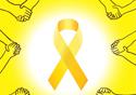 Laço amarelo usado como síbolo de prevenção ao suicídio