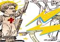 Desenho de Oswaldo Cruz enfrentando a morte