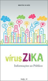 Capa de cartilha do Ministério da Saúde, com desenho da cidade, escrito Vírus Zika
