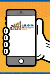 Arte que mostra celular com a logo do Abrascão na tela