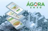 Arte com com a logomarca do Ágora 2030, telefones celulares e uma cidade virtual