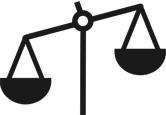 Imagem estilizada de uma balança de dois pesos, alusiva a ideia de ética