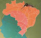 Desenho de rosto de criança com mapa do Brasil e mosquisto Aedes aegypti