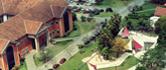 Vista aérea do campus mostra praça e telhados da biblioteca