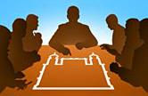 Ilustração de mesa de reunião com logo da Fiocruz