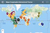 Mapa do mundo com destaque para os países com convênio com a Fiocruz