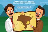 Desenho de Carlos Chagas e Oswaldo Cruz segurando um mapa do Brasil