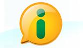 A logo da lei: balão amarelo com um 'i' dentro