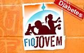 Arte do site Fiojovem, com imagens de jovens e o selo diabetes