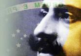 Rosto de Oswaldo Cruz sobre bandeira brasileira