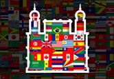 Contorno do castelo da Fiocruz preenchido por várias bandeiras