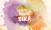 """Imagem de um dos vídeos, com o nome da série educativa """"Crianças contra zika"""""""