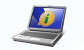 Desenho de um computador com o símbolo da lei (um i dentro de um balão)