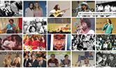 Mosaico com diferentes fotos de conferências de saúde