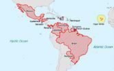 Mapa do mundo com destaque para países nas Américas com transmissão de zika