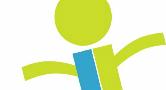 Imagem estilizada de uma pessoa, em verde e azul, que serve como logo da Cogepe