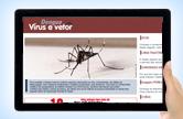 Imagem da tela de um tablet com imagem e informações sobre o Aedes aegypti