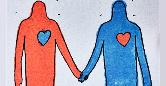 Ilustração de duas pessoas de mãos dadas