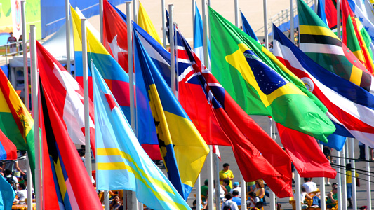 Flags of several countries fluttering side by side