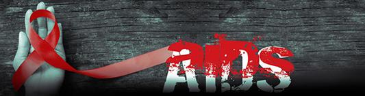 Laço vermelho em cima de uma mão ao lado da palavra Aids