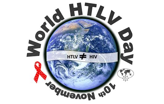 World HTLV day escrito em cima de uma foto da Terra