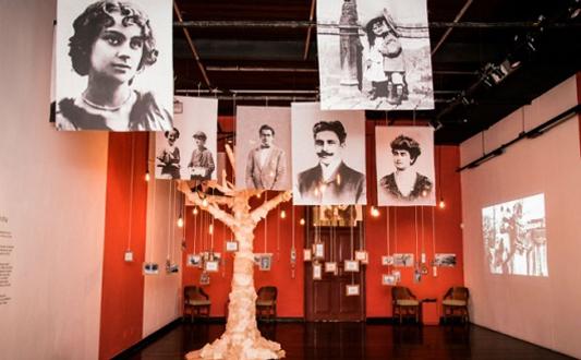 árvore cenográfica traz fotos de Oswaldo Cruz e da família