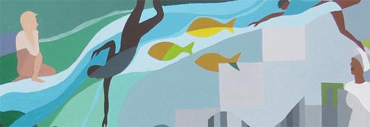 Desenho de um homem mergulhando em um rio com peixes do lado