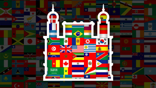 Arte con banderas internacionales y logomarca de Fiocruz
