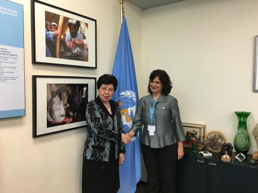 Nísia, presidente da Fiocruz com Margaret Chan, diretora-geral da OMS