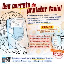 Uso correto de protetor facial