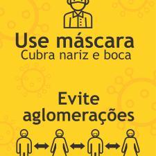 Cartaz sobre uso de máscaras e distanciamento