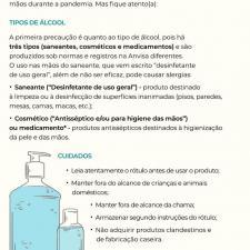 Imagem aborda os tipos de álcool gel