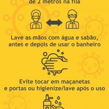 Cartaz com orientações para utilização dos banheiros