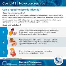 Infográfico mostra medidas para reduzir o risco de infecção