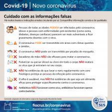 Informativo com esclarecimento de diversas informações falsas sobre a Covid-19