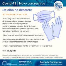 Imagem mostra cuidados no descarte de máscaras e luvas