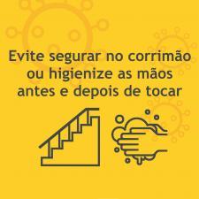 Cartaz com orientações para a utilização de escadas.