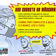 Infográfico sobre o modo certo de utilizar a máscara
