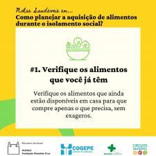 Card Alimentação - Verifique os alimentos que já tem em casa