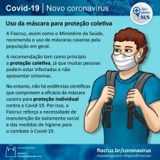 Imagem reforça a necessidade de utilizar máscara para proteção coletiva