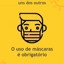 Cartaz com orientação para uso de máscaras nos carrinhos