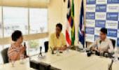 Encontro entre o prefeito da Bahia, ACM Neto e Marilda Gonçalves, diretora da Fiocruz Bahia