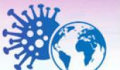 Desenho do vírus da covid ao lado do planeta